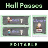 Hall Pass Set {Editable} Chalkboard Theme Clip Chart, Pass