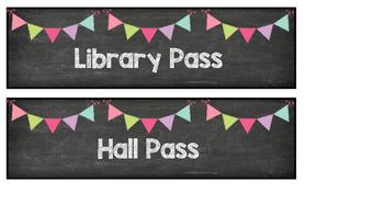 Chalkboard Hall Passes