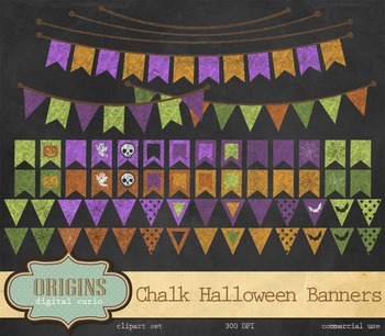 Chalkboard Halloween Bunting Banners Clipart