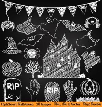 Chalkboard Halloween Clipart Clip Art - Great for Hallowee