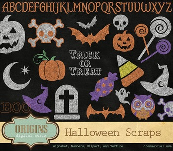 Chalkboard Halloween Clipart and Scrapbook Kit