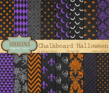 Chalkboard Halloween Digital Paper Pack Scrapbooking Backgrounds