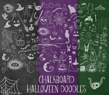 Chalkboard Halloween Doodle Clipart and Chalk Textures