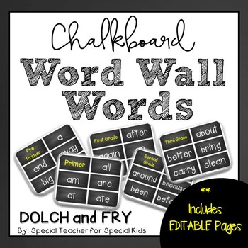 Chalkboard  High Frequency Word Wall Words * Editable *