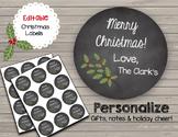 Chalkboard Holiday Tags - EDITABLE - Merry Christmas - Gift Cards
