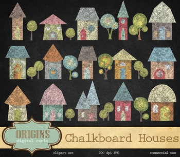 Chalkboard Houses Clipart