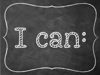"Chalkboard ""I can"" statements kindergarten Math"