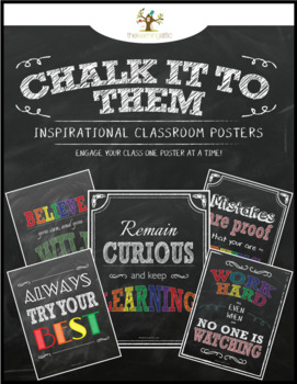 "Chalkboard Inspirational Posters in Bright Colors ""Chalk It To Them Collection"""