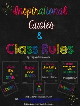 Chalkboard Inspirational Quotes & Class Rules