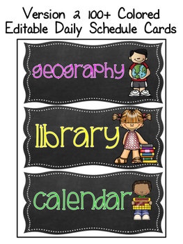 EDITABLE Chalkboard Daily Schedule Cards in 3 Versions (color and B&W)