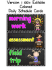 EDITABLE Chalkboard Daily Schedule Cards in 3 Versions (co