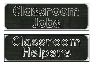 Classroom Jobs Chalkboard Collection