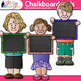 Chalkboard Kids Clip Art {Great for Back to School, Posters, & Brag Tags}