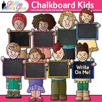Chalkboard Kids Clip Art {Great for Back to School, Poster