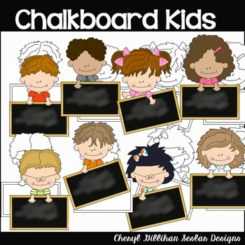 Chalkboard Kids Clipart Collection