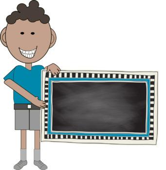 Chalkboard Kids - Kids holding checkered frames - commercial use ok
