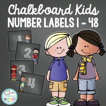 Chalkboard Kids Number Labels: Editable, Classroom Decor, Organizational Tool