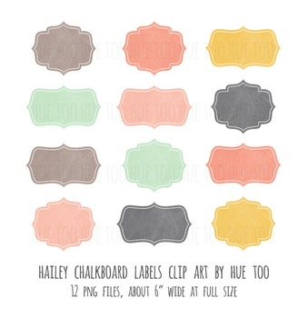 Chalkboard Labels Clip Art Images: Pink, Turquoise, Mustard Yellow