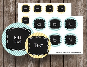 Chalkboard Labels - EDITABLE - Name Tags - Round Tags - Flash Cards BUNDLE