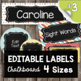 Chalkboard Labels - EDITABLE - Name Tags - Round Tags - Fl