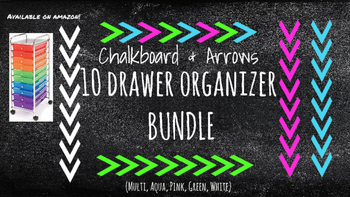 Chalkboard Labels for 10-Drawer BUNDLE (Multi, Pink, Aqua, Green, White Arrows)