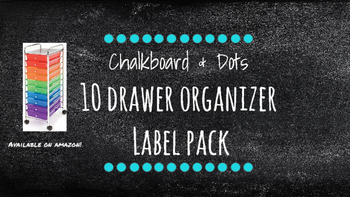 Chalkboard Bright Labels for 10-Drawer Organizer (Aqua Dots)