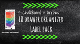 Chalkboard Bright Labels for 10-Drawer Organizer (Green Arrows)
