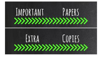 Chalkboard Bright Labels for 10-Drawer Organizer (Green Arrows)