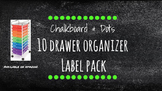 Chalkboard Bright Labels for 10-Drawer Organizer (Green Dots)