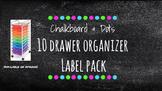 Chalkboard Labels for 10-Drawer Organizer (Green, Pink, Aq