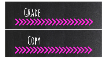 Chalkboard Bright Labels for 10-Drawer Organizer (Pink Arrows)