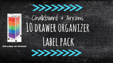 Chalkboard Bright Labels for 10-Drawer Organizer (Aqua Arrows)