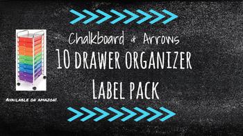 Chalkboard Bright Labels for 10-Drawer Organizer (Aqua Arrows)