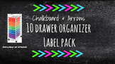 Chalkboard Bright Labels for 10-Drawer Organizer (Pink, Green, Aqua Arrows)