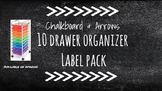 Chalkboard Bright Labels for 10-Drawer Organizer (White Arrows)
