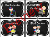 Chalkboard Learning Center Signs and Labels