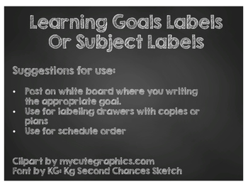 Chalkboard Learning Goal Subject Labels