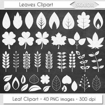 Chalkboard Leaves Clip Art White Leaf Clipart Silhouette Chalk Board Foliage