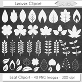 Chalkboard Leaves Clip Art White Leaf Clipart Silhouette C