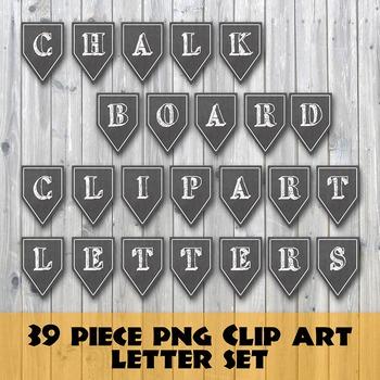 Chalkboard Alphabet and Number PNG Clip Art Set