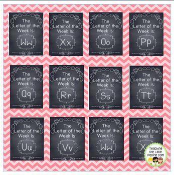 Letter & Number of the Week Signs, Chalkboard Design
