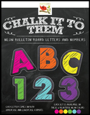 """Chalkboard Letters & Numbers in NEON """"Chalk It To Them Col"""