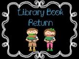 Chalkboard Library Book Return Label