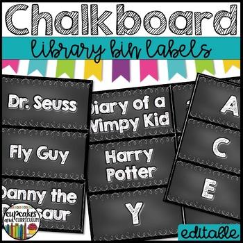 Chalkboard Library Labels EDITABLE