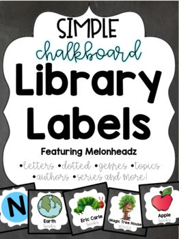Chalkboard Library Labels feat. Melonheadz with corresponding stickers