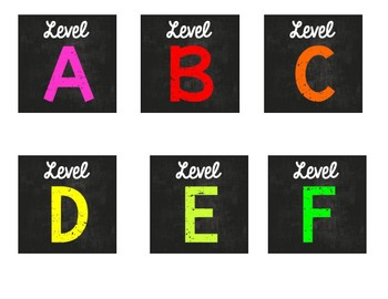 Chalkboard Library Level Labels! 3x3 Size!