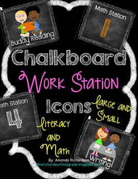 Chalkboard Literacy and Math Station Cards