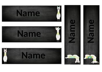 Chalkboard Llama Name Labels (EDITABLE)