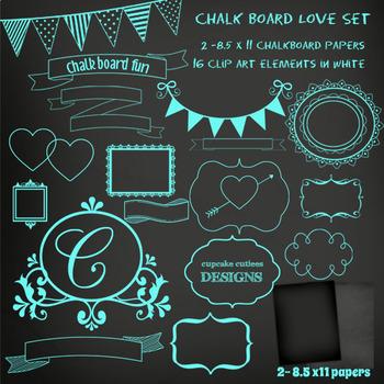 Chalkboard Love Digital Clip Art Set with Bonus Papers- Set 01