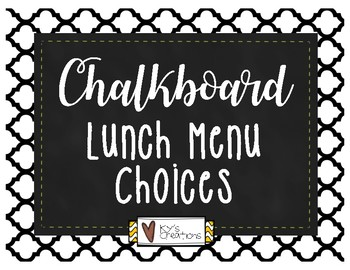 Chalkboard Lunch Menu Choices